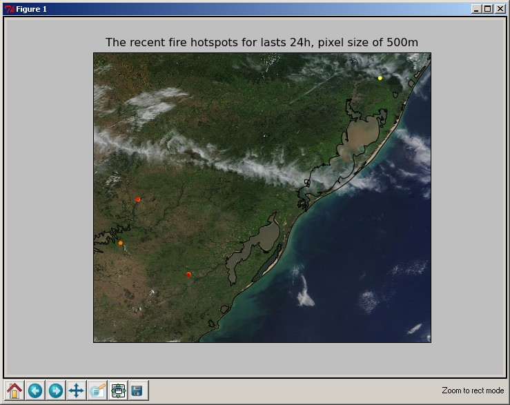 Python: acessing near real-time MODIS images and fire data