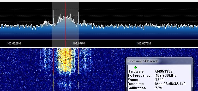 SDR# recebendo o sinal da sonda