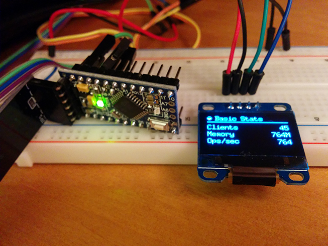 Arduino Pro Mini and OLED display on breadboard.