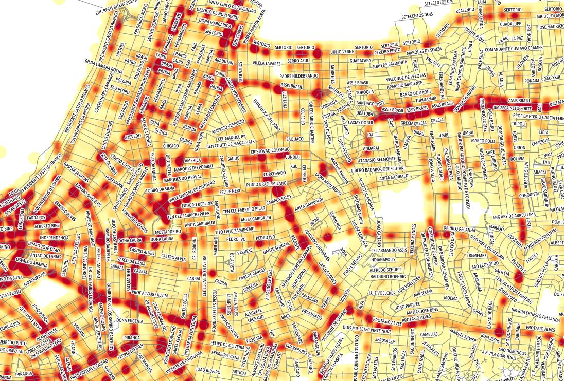 mapa de transito Mapa de calor dos dados de acidentes de transito do DataPoa  mapa de transito